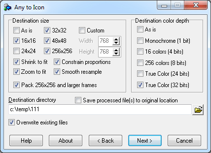 Convert any image to an icon via a wizard