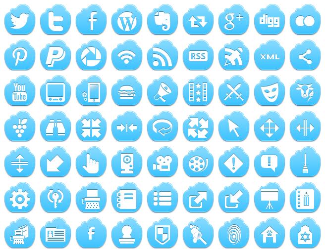 free blue cloud icons
