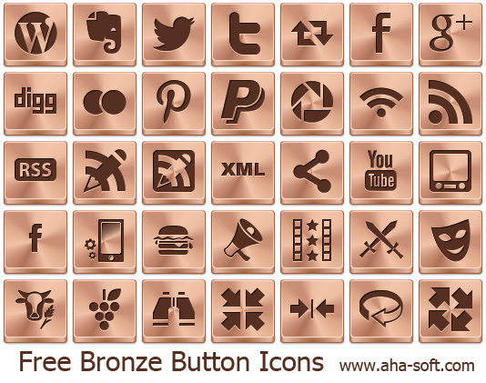 Free Bronze Button Icons full screenshot