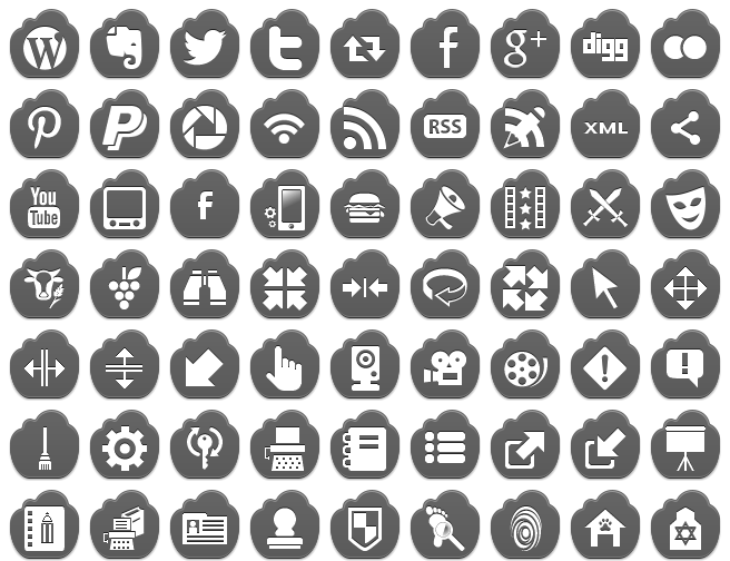free grey cloud icons