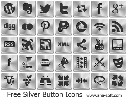 Windows 7 Free Silver Button Icons 2013.2 full