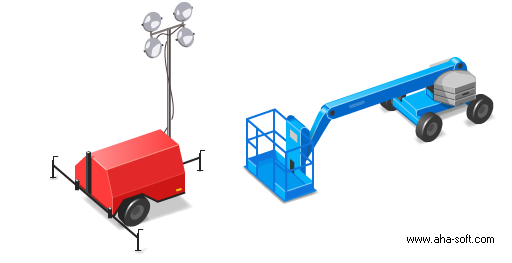 Boom Lift and Light Tower Icons
