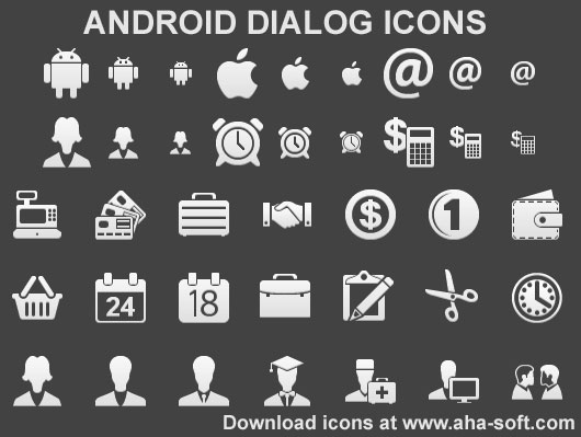 Android Dialog Icons - Android,dialog,icons,icon,ico,developer,apps,resolution,pixel,svg,ai,portfolio,design,designer,interface,stock icons,webdesign,development - Ready-made high resolution icons for Android apps in hdpi, mdpi and ldpi sizes