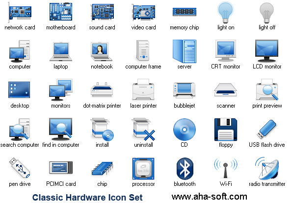 Classic Hardware Icon Set screenshot