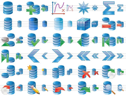 Database Icon Set - database,dbase,db,stockicons,stock,icon,icons,set,ico,clelection,collection,icon - Collection of attractive toolbar and menu icons for database software