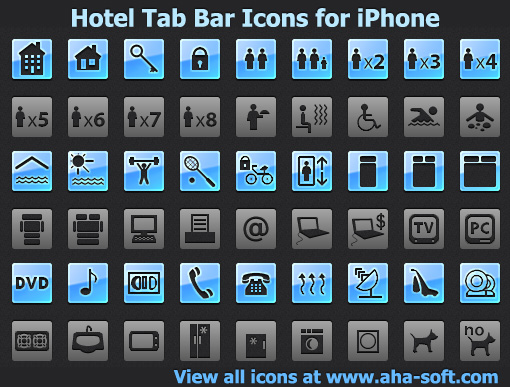 Hotel Tab Bar Icons for iPhone Screenshot