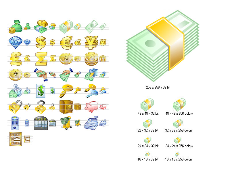 Money Icon Set - stockicons,stock,icon,icons,set,ico,clelection,collection,icone - Lots of money related icons to enhance an interface of a business application
