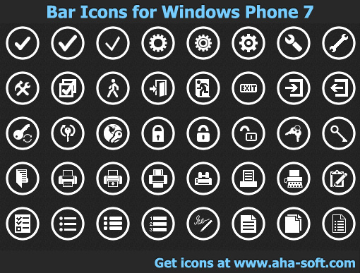 App Bar Icons for Windows Phone 7 screenshot